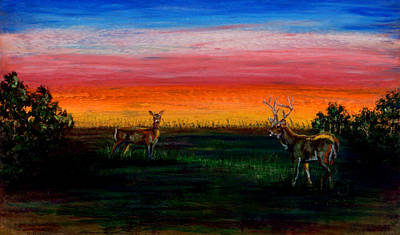 Pastel - Deer Dawn by Laurie Tietjen