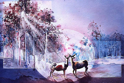 Painting - Deer Enchantment by Connie Williams