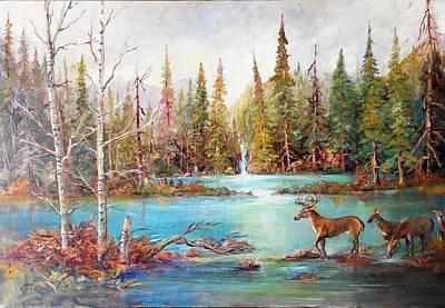 Lynn Burton Wall Art - Painting - Deer Falls by Lynn Burton