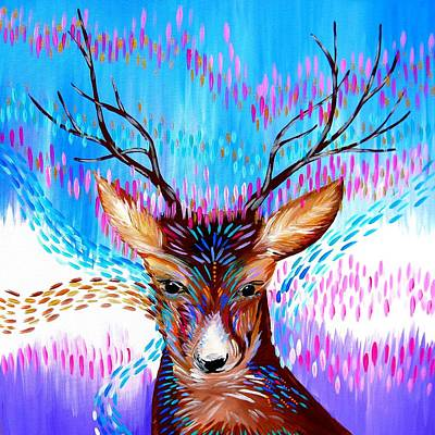 Multi Colored Painting - Deer Fantasy by Cathy Jacobs