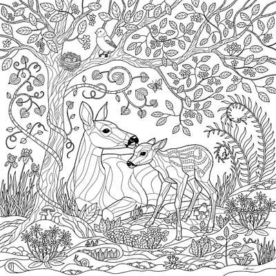 Deer Drawing - Deer Fantasy Forest Coloring Page by Crista Forest