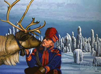 Indigenous Painting - Deer Friends Of Finland by Paul Meijering
