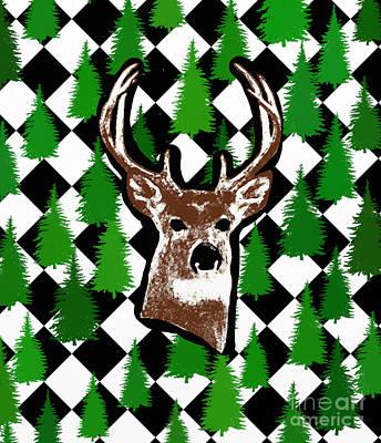 Shower Head Painting - Deer Head Design by Priscilla Wolfe