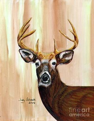 Deer Head Art Print by Judy Filarecki