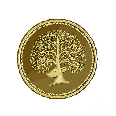 Brass Leafs Digital Art - Deer Head Tree Antler Gold Coin Retro by Aloysius Patrimonio