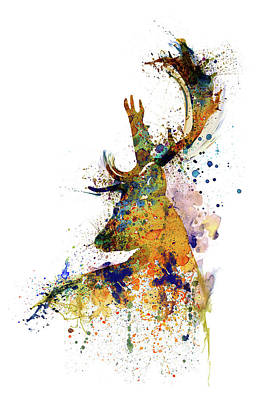 Mixed Media - Deer Head Watercolor Silhouette by Marian Voicu