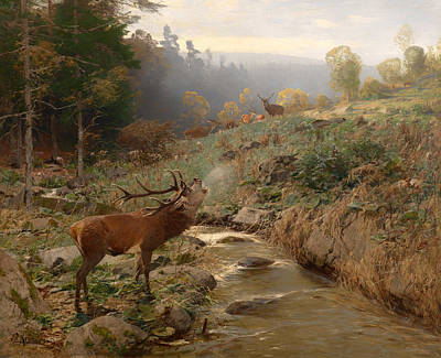 Clearing Painting - Deer Herd In A Forest Clearing by Mountain Dreams