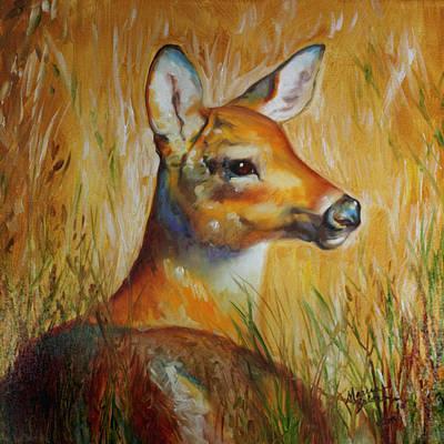 Tundra Painting - Deer Hideaway by Marcia Baldwin