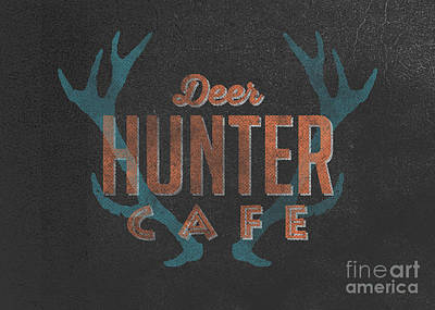Whitetail Deer Drawing - Deer Hunter Cafe by Edward Fielding