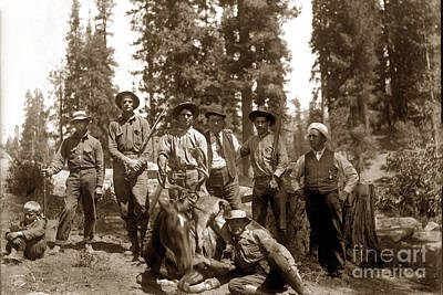 Photograph - Deer Hunters  With Rifles Circa 1917 by California Views Mr Pat Hathaway Archives