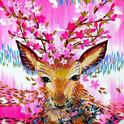 Cherry Blossoms Painting - Deer In Fresh Pink by Cathy Jacobs