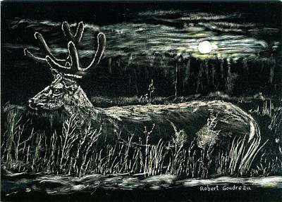 Drawing - Deer In Moonlight by Robert Goudreau