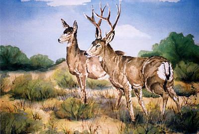 Wall Art - Painting - Deer In The Sagebrush  by Cheryl Bishop