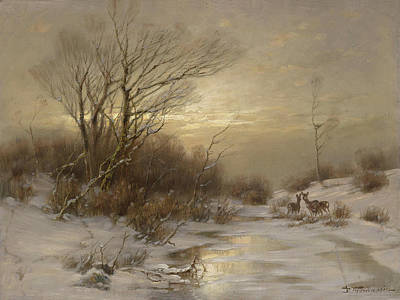 Painting - Deer In Winter Landscape By Desire Thomassin Rehe In Winterlandschaft by Desire Thomassin