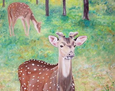 Art Print featuring the painting Deer In Woods by Elizabeth Lock