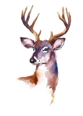 Animals Paintings - Deer by Maria Stezhko