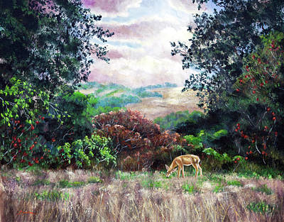 Painting - Deer On A Hilltop Vista by Laura Iverson
