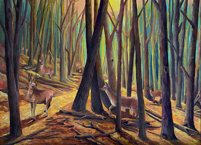 Painting - Deer On The Move A Detail by Nancy Griswold