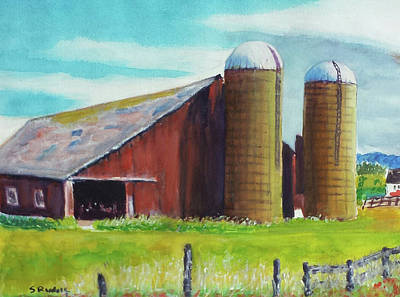 Openness Painting - Deer Park Silos by Shirley Rudolf