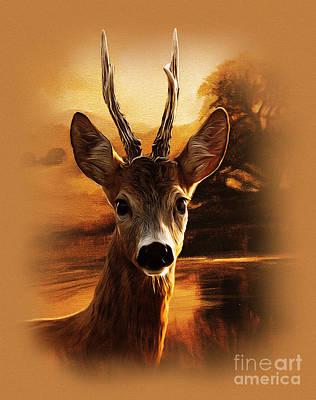 Deer Painting - Deer Portrait by Gull G