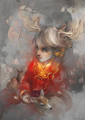 Digital Art - Deer Princess by Te Hu