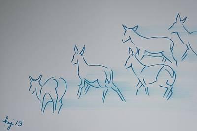 Deer Running Art Print