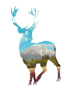 Painting - Deer Silhouette 01 by Aged Pixel
