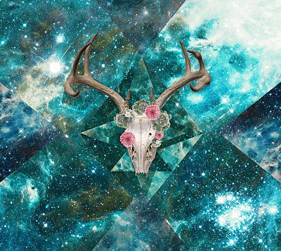 Digital Art - Deer Skull Peyote Vision by Lori Menna
