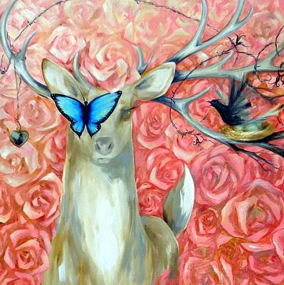 Painting - Deer To My Heart, Square Crop by Dina Dargo