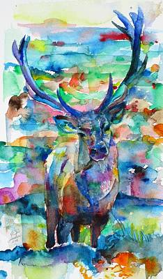 Painting - Deer - Watercolor Painting by Fabrizio Cassetta
