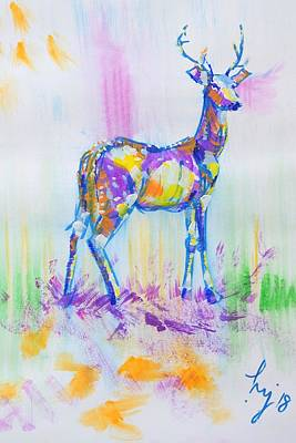 Mixed Media - Deer With Antlers Painting by Mike Jory
