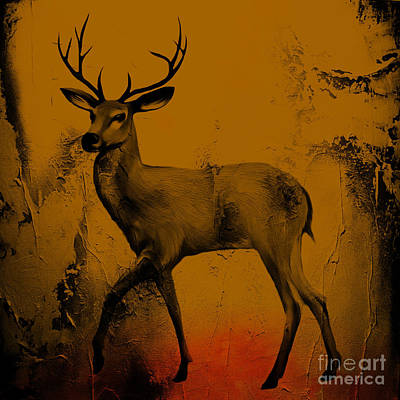 Deer Painting - Deer With Big Horn by Gull G