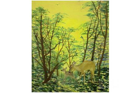 Deer With Fawn Art Print by Hal Newhouser