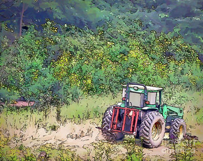 Photograph - Deere In The Wildflowers - Line And Ink Art by Kerri Farley
