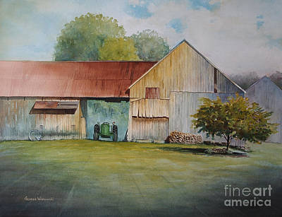 Old Barn Painting - Deere On The Farm by George Wisnowski