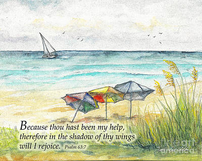 Digital Art - Deerfield Beach Umbrellas Psalm 63 by Janis Lee Colon