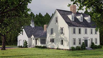 Digital Art - Deerfield Colonial House by Shinji K
