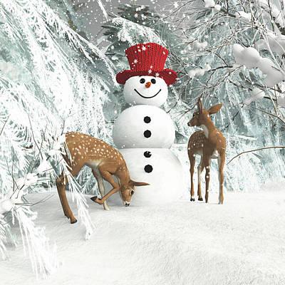 Digital Art - Deers At Chistmas by Jan Keteleer