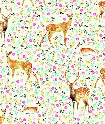 Deer Digital Art - Deers by Uma Gokhale