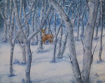 Painting - Deer's Winter Snow by Kelly Mills