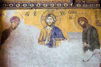 Christian Sacred Photograph - Deesis Mosaic Of Jesus Christ by Artur Bogacki