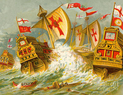 Defeat Of The Spanish Armada Art Print