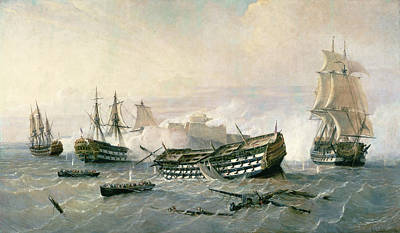 Fleet Painting - Defence Of The Havana Promontory  by Rafael Monleon y Torres