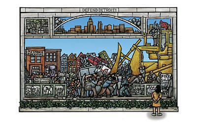 Mural Mixed Media - Defend Detroit by Ricardo Levins Morales