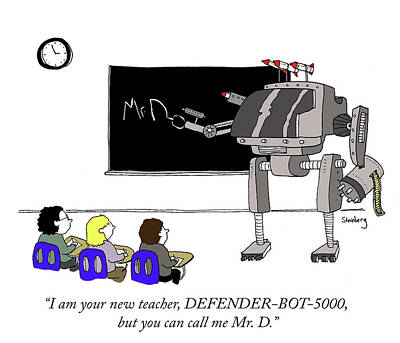 Blackboards Drawing - Defender Bot 5000 by Avi Steinberg