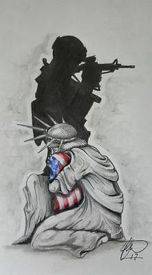 Soldier Wall Art - Drawing - Defending Liberty by Howard King