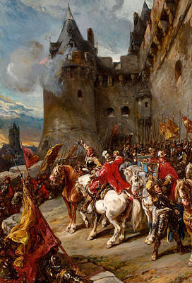 Painting - Defending The Chateau by Eugene Isabey