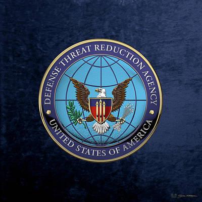 Digital Art - Defense Threat Reduction Agency -  D T R A  Seal Over Blue Velvet by Serge Averbukh