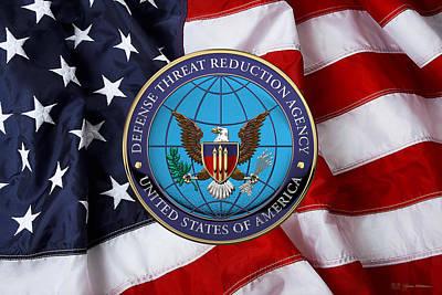 Digital Art - Defense Threat Reduction Agency -  D T R A  Seal Over U. S. Flag by Serge Averbukh