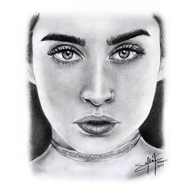 Black Art Drawing - Lauren Jauregui Drawing By Sofia Furniel  by Sofia Furniel